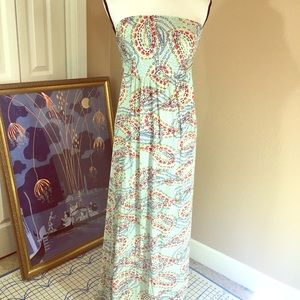 Strapless maxi dress cute pattern stretchy comfy
